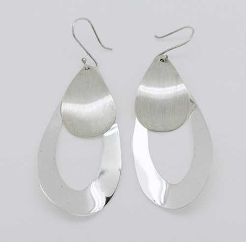 Long Teardrop Earrings brushed and polished silver