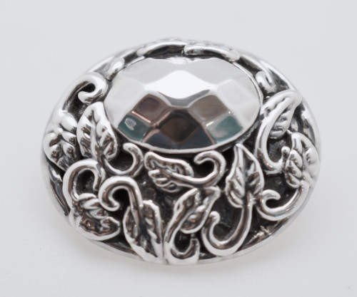 Electroform Oval Pendant with leaf design