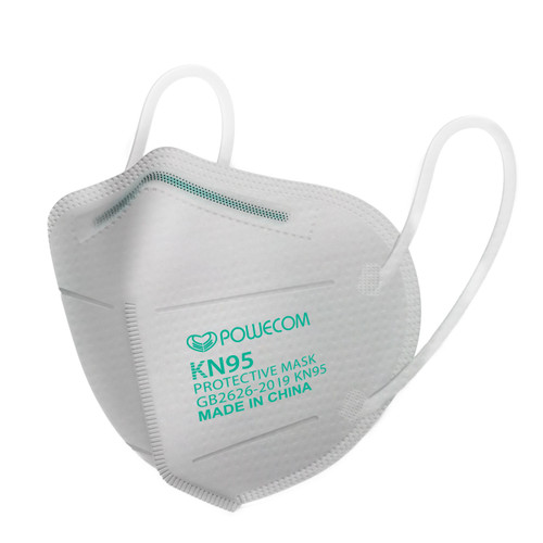 The Powecom  KN95 respirator mask outside of the packaging with just the side that has the GB2626-2019 standard on the side, the Powecom logo, the KN95 classification designation and that it is made in China.