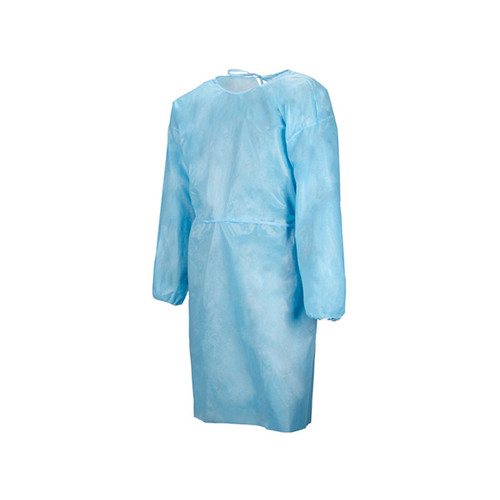 Blue isolation gown that is level 1 with elastic cuffs