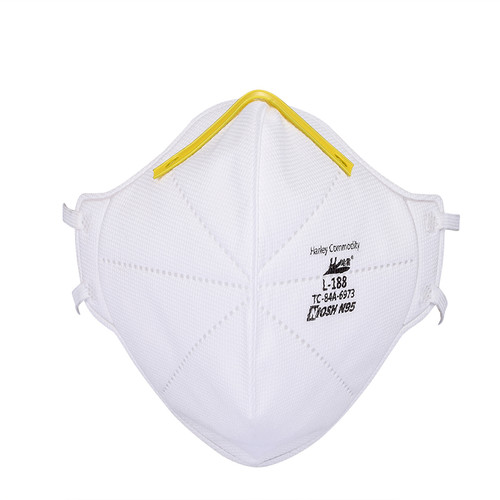 The Harley N95 NIOSH model L-188 approved face mask respirator from the front with the iconic yellow nose band or clip.