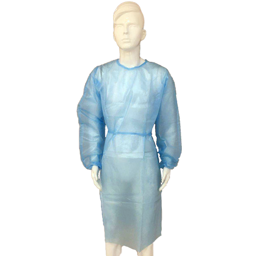Full front view of the blue Mediunion blue examination AAMI level two gown. It demonstrates the protective zones of the gown required by the AAMI ANSI and FDA.