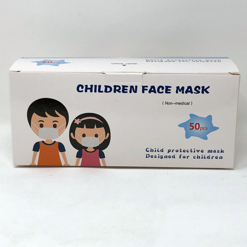 Single box of 50 children size 3 ply disposable masks. The box is white and has a picture of two children on the box.