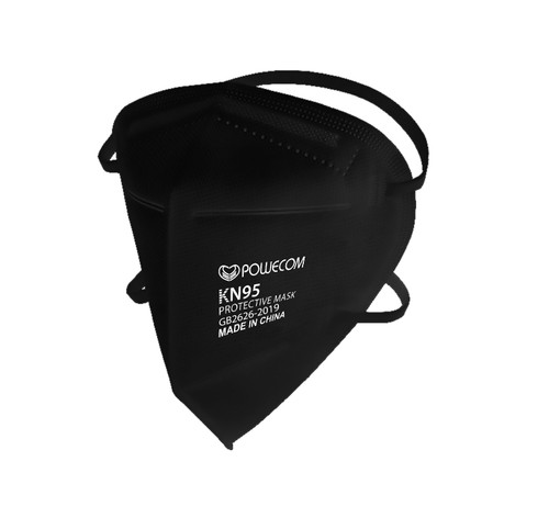 Black Powecom KN95 Face Mask Respirator that is FDA Approved and had headband straps that wrap around the head. This is from an angled front view showing profile and front of the face mask.