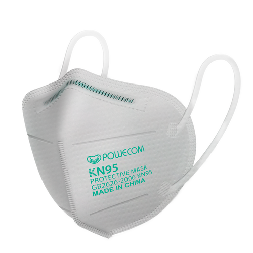 The Powecom FDA Authorized KN95 respirator mask outside of the packaging with just the side that has the GB2626-2006 standard on the side, the Powecom logo, the KN95 classification designation and that it is made in China.