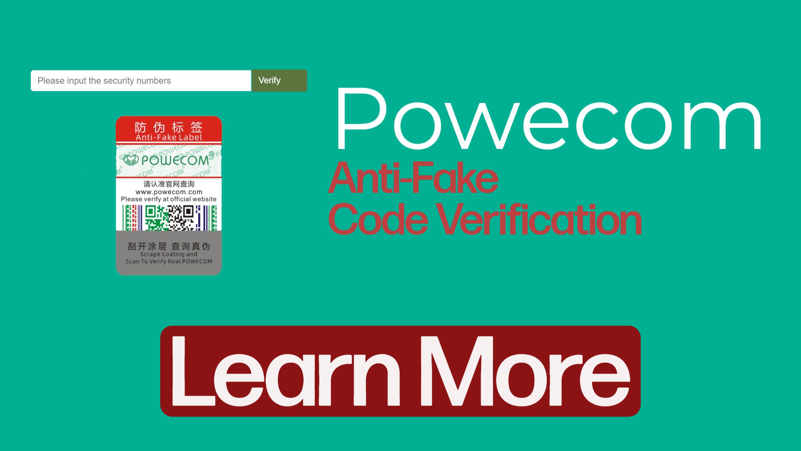Powecom KN95 Anti Fake Sticker Verification