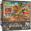 """This MasterPieces 18"""" x 24"""" 750pc puzzle set at the local Farmer's Market. At the corner of the town square the weekend market has fresh flowers and veggies for sale. To reduce its impact on our environment, the chipboard used in this puzzle is made of recycled material."""