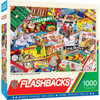 """This MasterPieces 19.25"""" x 26.75"""" 1000pc Flashbacks Puzzle has a nostalgic feeling. Kids and adults alike enjoy the thrilling competition of family game night. These timeless puzzles are a throw-back to yester-year. The chipboard used in these puzzles is made of recycled material."""