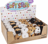 Little plushie pals for your pocket! Bark when sides are squeezed. Choice of breeds.