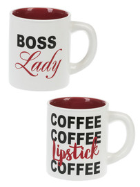 """Choose between two different designs: """"Boss Lady"""" or """"Coffee Coffee Lipstick Coffee"""".  Sold individually."""