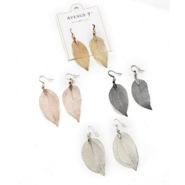 """Real leaves form the base mold of these beautiful elegant metallic earrings. About 1-1/4"""" long with natural vairations of size. Available in a variety of colors to complement any wardrobe."""