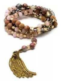 Versatile, convertible, convenient, and stylish. Wear it your way! This style doesn't only offer you 3 ways to wear it, but you can also choose to wear it with a beaded/metal tassel as well. It truly couldn't be more functional. This piece has earthy hues, a muted pallet, and gorgeous stones – yet so perfect for any season! Wear it, layer it, wrap it, detach it – these are all the fun choices you'll have!
