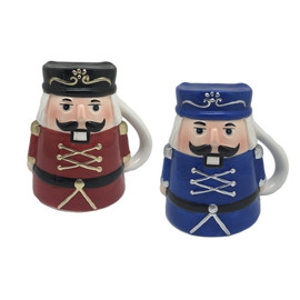 """3 3/8"""" W. x 4 3/4"""" H. x 5 1/2"""" L Red or blue Nutcracker soldier mug with gold or silver detail.  Sold individually."""
