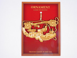 """Intricately detailed laser cut wood ornament commemorates your trip down the Mother Road! Ornament is 4"""" wide and about 2.5"""" high and is made in the USA. Gold ribbon for hanging."""