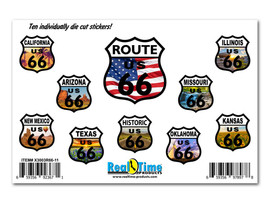 Route 66 Sticker Set contains full color scenes from each state the mother road passes through.