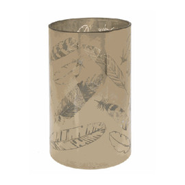"""On/off switch. Golden Feather Candle Holder - Lg. Dimensions: 43/4"""" Dia. x 8"""" H. Battery Details: Requires 3 'AAA' batteries."""