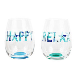 The perfect wine glass for any summer celebration! Stemless wine glass features a handpainted coastal design with rhinestone embellishments. Handwash only. Packed in an acetate box. 2 assorted styles.  Sold individually.