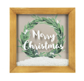 "Merry Christmas Shadow Box with Faux Snow w/ artificial snow fill   10""square x 1"" deep"