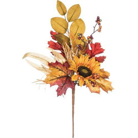 "Harvest the happiness with this collection that celebrates fall and all its festive design elements. Wrapped up in seasonal style you'll enjoy colorful fall leaves and berries, sprigs of sunflower, ribbons of raffia, and of course a gathering of seasonal gourds. How delightful! Dimensions:	10""L x3""W x19""H"