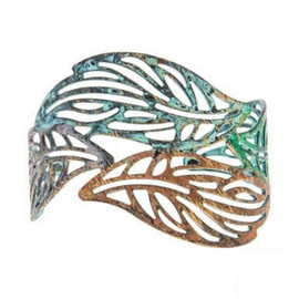 Color washed Fire Patina Openwork Abstract Leaf Shape Cuff Bracelet