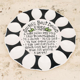 """We love deviled eggs in the South! This ceramic plate is the perfect way to display your delicious southern favorite and has it's own recipe in the center for your cooking! Measures 10.5"""" x 10"""""""