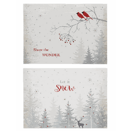 "Dimensions: 10"" W. x 14"" L. x 13/4"" D. Choose either ""Share the Wonder"" with cardinal design, or ""Let it Snow"" with deer. Battery Details: Requires 2 'AAA' batteries."
