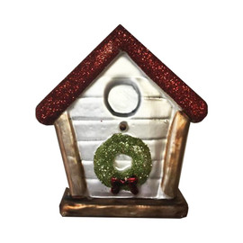 "3.5""  cream colored glass Birdhouse in classic Christmas colors has a glittery red roof with green wreath and gold accents. Perfect for any holiday decor!"