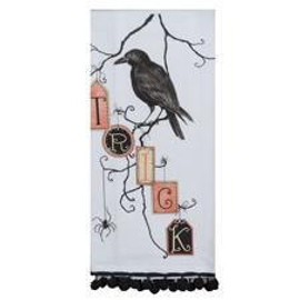 Mischievous crow and spider offer a seasonal warning on this vintage styled multicolored  cotton towel. With jaunty black pom pom trim, this will make a great gift for anyone who loves crows or Halloween.