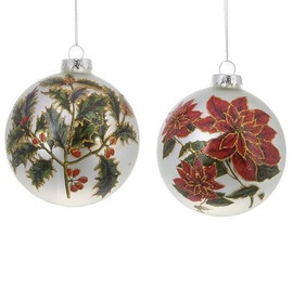 Glass ball with painted poinsettias or holly leaves in red and green with gold embellished detail.  Sold individually.