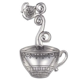 """These Teacup Everything Spoons can be used as a Teabag Holder, or as a small decorative scoop. They have beautiful detailing. This spoon features a Teacup design for the scoop and a Teapot on the handle. Everything Spoons are great to keep on hand for Hostess Gifts. SIZE: Approximately 2 1/4"""" W. x 4 5/8"""" L. Made of Sturdy Zinc Multi purpose spoon that can be used as a teabag holder, or 1 tablespoon measuring spoon"""