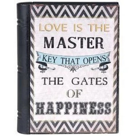 """Metal box opens like a book and is a perfect hiding place for all your treasures. Sentiment reads, """"Love is the Master Key That Opens the Gate of Happiness"""""""