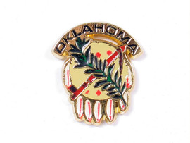"""Full color Osage shield cloisonne lapel pin is about 1"""" across."""