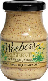 Woeber's Wholegrain Dijon Mustard has a mellow spicy flavor.