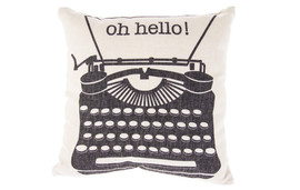"17"" square pillow with typewriter design"