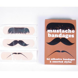 24 adhesive bandages in three assorted styles look great on your upper lip or anywhere else you need a dapper cover up.