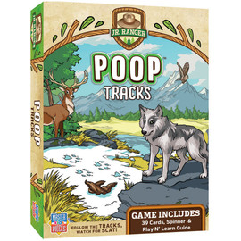 Follow the tracks, don't step in the scat, and spot that animal! Spin the spinner to draw cards, and complete the scene featuring each animal in their habitat, along with the correct tracks and poop! The first player to complete three scenes wins! Play this game a few times, and Jr. Ranger's will become expert animal trackers. Don't be afraid of the stinky. Includes 39 playing cards, spinner, and Play n' Learn Guide.