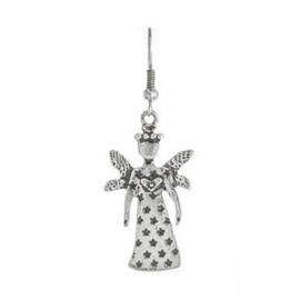 Textured Star Pattern Silver Fairy Godmother Guardian Angel Earring