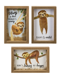 """Choose between three assorted designs: """"Born to be Mild"""" """"Don't Hurry Be Happy"""" or """"Hang in there, Friday's Coming"""".  Sold individually."""