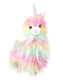 Cotton candy colored plushie llama unicorn is the absolute cutest!