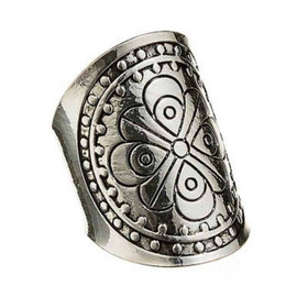 Silver Adjustable Etched Flower Dotted Circle Ring