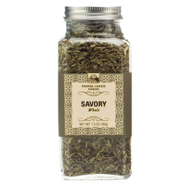 Savory is native to the Mediterranean and has a bold peppery flavor. It is a perfect complement to egg dishes, beans, soups and stews.