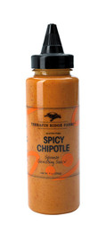 A well-blended balance of chipotle peppers, spices, cider vinegar and the zip of orange juice. This gourmet sauce is excellent to squeeze on fish tacos, grilled chicken breasts and great to garnish crab cakes or shrimp skewers. It adds a spicy kick to burgers, fries, sandwiches, etc. Gluten Free.