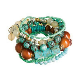 Brown, Gold, White and Turquoise Mixed Bead Stacking Eight Piece Bracelet Set
