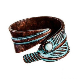 Copper Patina Feather Bypass Turquoise Gem Accent Adjustable Ring OSFM