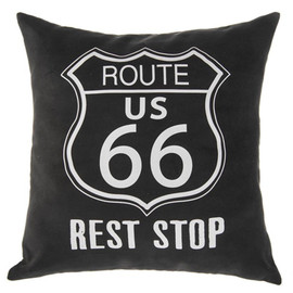 """Route 66 Rest Stop"" pillow print with removable cover; insert with loose fill polyester.  Measures 16"" x 16"""