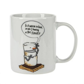 "Toasted S'mores ""Is it Warm In Here, Or Am I Having a Hot Flash?! Mug. 11 oz. Dimensions: 4.75"" L. x 3.125"" W. x 3.75"" H. x 0.692 lb. w"