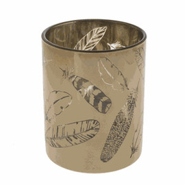 """On/off switch. Golden Feather Candle Holder - Lg. Batteries not included Glass Color: Gold Dimensions: 43/4"""" Dia. x 8"""" H. Battery Details: Requires 3 'AAA' batteries."""