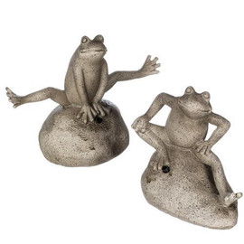 "Ribbet, ribbet. You can't pass by these little guys without an audible surprise! Motion-activated, they can be turned on to make a sound when anyone comes near. A great conversation-starter, these fetching frogs will find a spot in any garden decor. Dimensions:	4""L x2.5""W x4.5""H 6.5""L x2.75""W x4.5""H.  Sold individually."