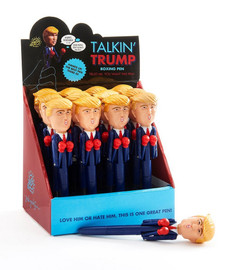 Joke around with this talking Trump-shaped pen featuring red boxing gloves and black ink. Sure to be a collector's item someday- pen quips several signature phrases when punch is activated.