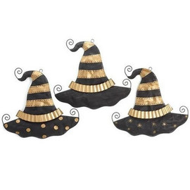 "Metal mesh witch hat in black and gold. Hang indoors or out. 27""H X 28""W X 2""D Assortment of three.  Sold individually."